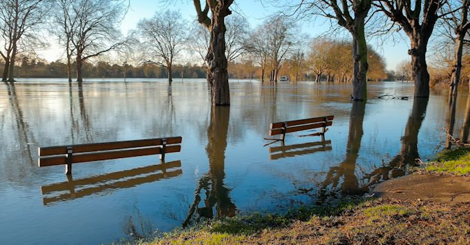 flooded park benches